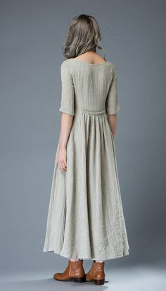 Casual Linen Dress – Pale Gray Everyday Comfortable Fit & Flare Long Maxi Dress with Half Sleeves and Button Front - Looks are Everything Casual Look, How To Look Classy, Short Beach Dresses, Summer Dresses, Dress Long, Long Linen Dresses, Dresses Dresses, Dress Prom, Simple Dresses