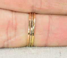 Solid 14K Yellow Gold Super Thin Stacking Ring by Alaridesign