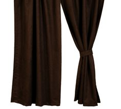 Dark Brown Suede Drapery Set 84 long western window curtains wooded river authorized retailer