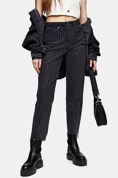 Washed Black Diamante Stripe Jeans