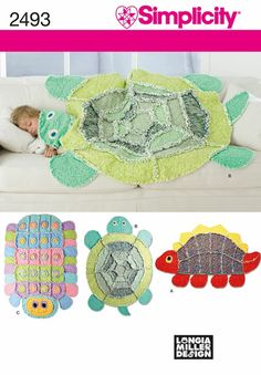 Rag Quilt: turtle, caterpillar, dinosaur. Totally don't need a pattern. - Click image to find more DIY & Crafts Pinterest pins
