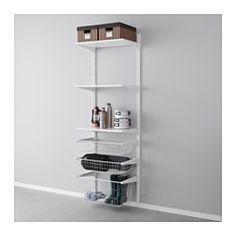 IKEA - ALGOT, Wandrail/draadmanden, De onderdelen van de ALGOT serie kunnen op diverse manieren worden gecombineerd en zijn daardoor eenvoudig aan te passen aan de behoefte en de ruimte.De consoles, planken en acccessoires hoef je alleen maar op hun plaats te klikken. Daardoor is het heel eenvoudig om je opbergoplossing te monteren, aan te passen en te veranderen.Geschikt voor gebruik in het hele huis, zelfs in vochtige ruimtes zoals de badkamer of op overdekte balkons.