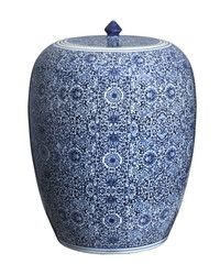 "Large Blue & White Ginger Jar, 21"" Floral"