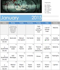 January 2015 Zombie Apocalypse Prepper Calendar.  Check them out on FB:  https://www.facebook.com/pages/ZAP-Zombie-Apocalypse-Preppers/1397918320444767