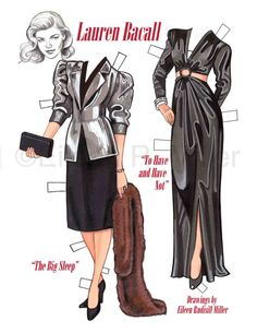 Lauren Bacall Commemorative Paper Doll by PaperDollsbyERMiller