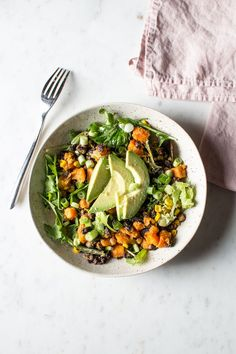 sweet potato, black bean and corn salad with maple lime dressing