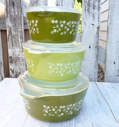 Pyrex Green Spring Blossom Casserole Dishes with Lids, Stacking Set of 3. $38.00, via Etsy.