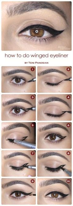 Step by step winged eyeliner application, makeup products, makeup tutorial, winged eyeliner tutorial