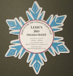 Frozen Inspired Snowflake Invitation by SassyPapier on Etsy, $1.95