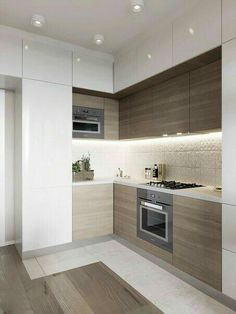 The Best of Little Apartment Kitchen Decor While completing a . - The Best of Little Apartment Kitchen Decor While completing a little kitchen outl - Small Modern Kitchens, Small Kitchen Layouts, Modern Kitchen Design, Interior Design Kitchen, Cool Kitchens, Kitchen Small, Kitchen Corner, Modern Interior, Cheap Kitchen