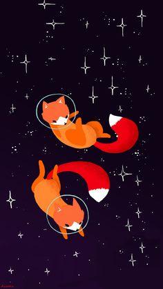 Fox Art Cosmos Wallpaper IPhone my edition A.Aisuru