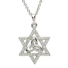 """The silver Trinity star Celtic pendant sparkles with intent, thanks to the cubic zirkonias encrusted to the six point star. In the center sits the ancient and enchanting Trinity knot design.  Material: Sterling Silver Width: 16mm Height: 22mm  Stones: Cubic Zirconia Dimensions: 1mm x 1mm Shape: Round  * 18"""" Silver Chain"""