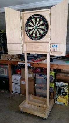 Mobile dart board cabinet