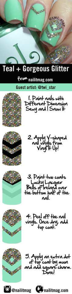 Teal chevron and glitter nail art tutorial from Nail It! Magazine & @twi_star.