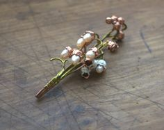 Bouquet of real may-lily electroformed with copper with real pearls, lily of the valley copper-plated, electroforming,enamelled brooch,OOAK