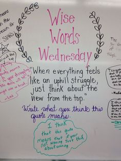 Morning Meeting Question fo the day Wise Word Wednesday - respond to this quote #miss5thswhiteboard