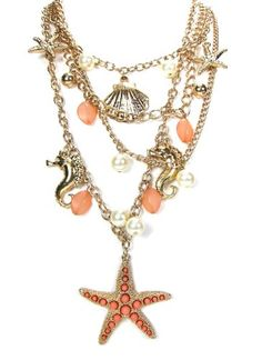 Women Fashion Summer Spring Gold Coral Multiple Chains Ocean Inspired Nautical Theme Starfish Sea Shells Sea Horses... $16.50 (21% OFF)