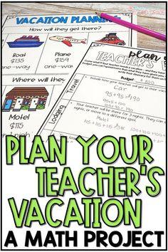Summer PBL Math Activity or Project - Plan Teacher's Vacation, Fourth Grade Math, Second Grade Math, Sixth Grade, Math Enrichment, Math Activities, Fun Math, Math Math, Guided Math, Math Projects