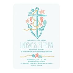Nautical beach wedding invitations personalized announcement - Perfect cute and modern wedding invitations for nautical weddings, beach weddings and destination weddings too. Full of pretty seashells, turquoise and teal sand dollars, coral seahorses and starfish couples. Elegant bright hand drawn anchor design casual wedding invitation.