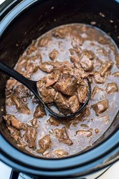 Slow Cooker Beef Tips with Gravy A delicious way to prepare steak in the cold fall and winter months. Slow Cooker Beef Tips with Gravy is a satisfying, family-friendly meal! Chuck Steak Recipes, Beef Tip Recipes, Beef Recipes For Dinner, Cooking Recipes, Steak Tips, Soup Recipes, Yummy Recipes, Cheap Recipes, Healthy Recipes