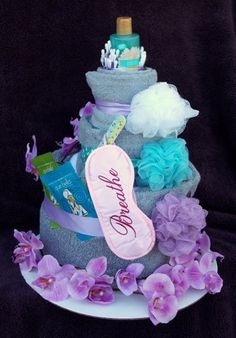 Spa 3Tier Towel Cake by Occakesional on Etsy