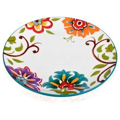 Home Accents Multi 10.75-In. Round Floral Dinner Plate ($11) ❤ liked on Polyvore featuring home, kitchen & dining, dinnerware, multi, round dinner plates, floral dishes, round plate, floral dinner plates and floral dinnerware