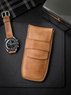 """Handsome Speedmaster paired with Bas and Lokes """"Berkshire"""" leather watch strap and """"Reiss"""" watch pouch. Leather Diy Crafts, Leather Projects, Watch Storage, Omega Speedmaster, Pen Case, Leather Watch Bands, Natural Leather, Leather Working, Cow Leather"""