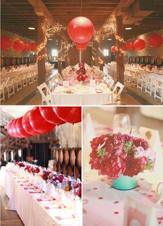 love the big red balloons for wedding reception decor... only down fall would be if they where not even... who is in charge of keeping them even?!?!