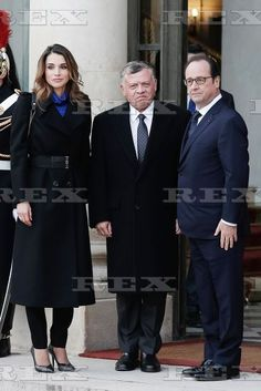 International Leaders at the Elysee Palace, Paris France - 11 Jan 2015  Francois Hollande welcomes King Abdullah II and his wife Queen Rania  11 Jan 2015
