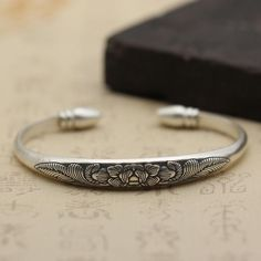 Vintage Complex Carved Ethnic Matte Peony Adjustable 999 Sterling Silver Bangle #SterlingSilverBangles