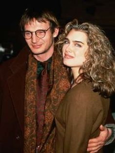 "Liam Neeson and Brooke Shields at the ""Under Suspicion"" movie premiere in New York 1992"