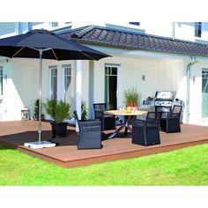 Geflechtsitzgruppe mit Edelstahl-Teakholz-Tisch Sentinel - Ihr Online Shop für exklusive Gartenmöbel - #Garten #Moebel