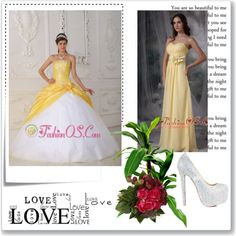 """""""Modest Yellow and White Sweet 16 Dress Strapless Organza and Taffeta Appliques and Hand Flower Ball Gown"""" by quinceanera-fashionos on Polyvore"""