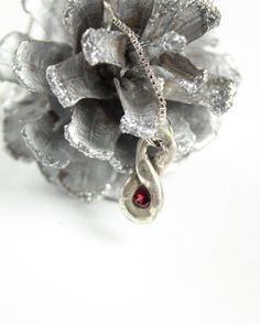 Garnet Necklace Silver Pendant January Birthstone by HausofAriella, $36.00