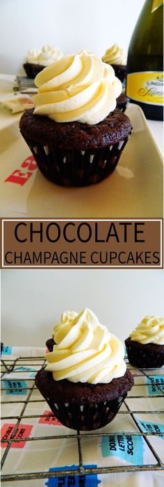 Chocolate Champagne Cupcakes - Elegant and delicious cupcakes perfect for any occasion, big or small. I love them because they can also be made gluten free! Find them now at thechocoholicbake. Baking Cupcakes, Delicious Cupcakes, Cupcake Recipes, Cupcake Cakes, Dessert Recipes, Cupcake Ideas, Baker Recipes, Cupcake Frosting, Tea Cakes