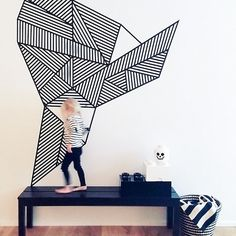 Once again, washi tape comes to the rescue. The wall's an empty canvas and your friend washi can help you create virtually any image your mind can dream up.