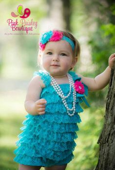 3 pc SET Lace Petti Romper Ruffle Rompers by Pinkpaisleybowtique