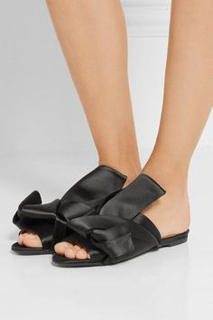 No. 21 - Knotted Satin Sandals - Black - IT37.5