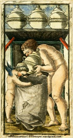FOUR OF CUPS, from the Sola-Busca Tarot (Italy 1491) faithful reprinted by Wolfgang Mayer (Germany 1998)