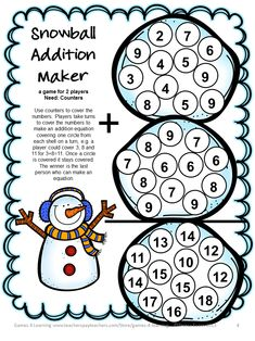 Addition Board Game from Snowman Math Games Addition and Subtraction from Games 4 Learning - a collection of 7 Math Board Games with a snowman theme. $