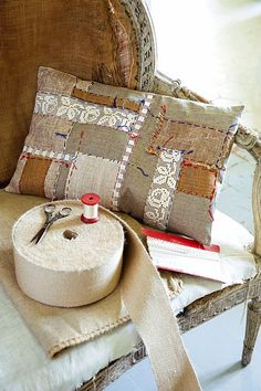 Pretty little linen and lace patchwork cushion cover, Marie Claire Sewing Pillows, Diy Pillows, Linen Pillows, Decorative Pillows, Patchwork Cushion, Quilted Pillow, Scatter Cushions, Pin Cushions, Linens And Lace