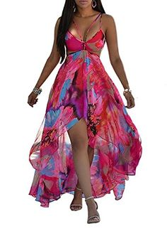 Awesome Farktop Women's Irregular Hem Multicolor Floral Print Halter Backless High Low Split Maxi Sheer Chiffon Dress Plus Size