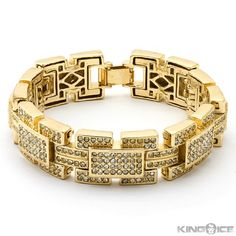 Yellow Gold Plated Iced Out Rectangle Hip Hop Bracelet | Your #1 Source for Jewelry and Accessories