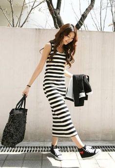 Strips Long Cotton Stretch Sleeveless Maxi Dress - BuyTrends.com
