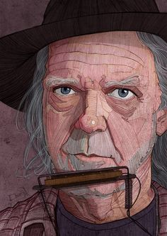 Neil Young illustration portrait for the new issue of Georgie magazine.
