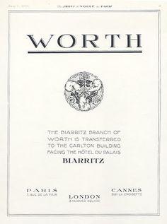Worth (Couture) 1926 Label, 7 rue de la Paix Paris, 3 Hanover Square London, Cannes sur la Coisette