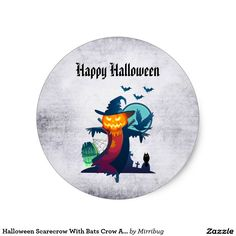 Halloween Scarecrow With Bats Crow And Owl sticker