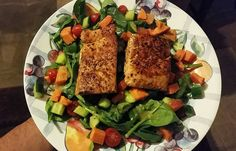 Cajun style Salmon on a bed of Spinach sweet potato tomatoes and cucumber  Goodnight fam! Food coma too real  #foodie #gains #foodporn #foodpic #eatclean  #lean #nutrition #healthychoices  #lowcarb #paleo #healthy #photooftheday #dinner #fitness #fitnessmotivation by itsrobbb24