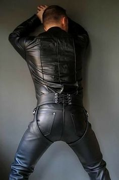 Leather chaps over leather pants Mens Leather Pants, Leather Blazer, Black Leather, Leather Jackets, Leather Fashion, Mens Fashion, Suit Shirts, Clothing Items, Sexy Men