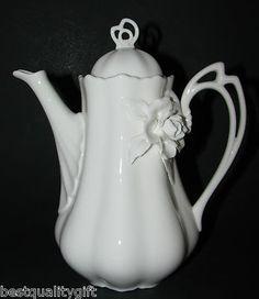 New Grace Teaware Tall 3 D Flower White Ivory Ceramic Coffee Teapot 6 Cup 48oz | eBay